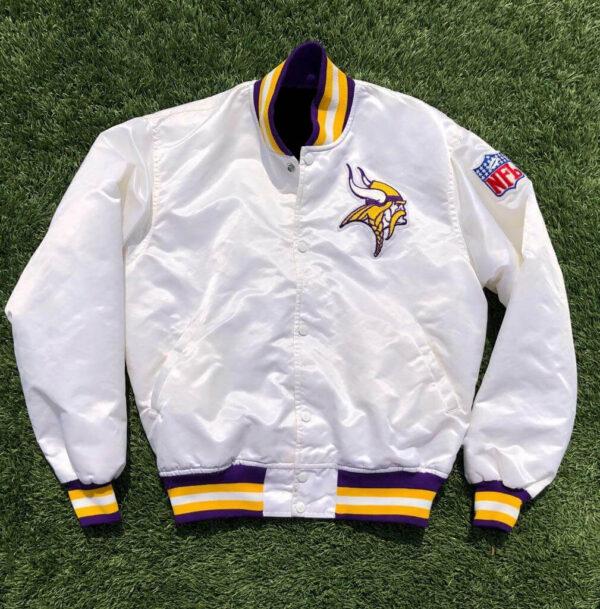 White NFL Jeff Hamilton Minnesota Vikings Satin Jacket