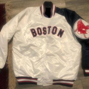 White Vintage MLB Boston Red Sox Satin Jacket