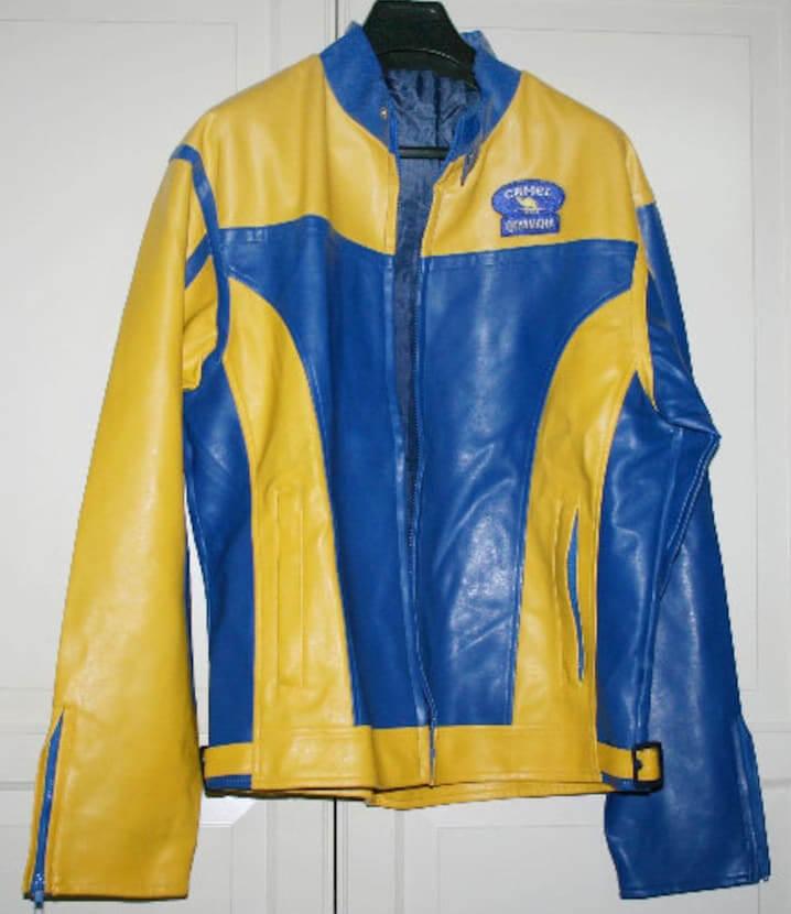 Yamaha Camel Motorcycle Yellow And Blue Leather Jacket