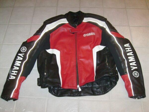 Yamaha Motorcycle Black And Red Leather Jacket