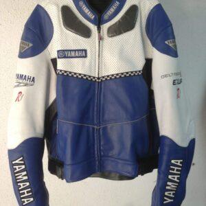 Yamaha Motorcycle Blue And White Leather Jacket