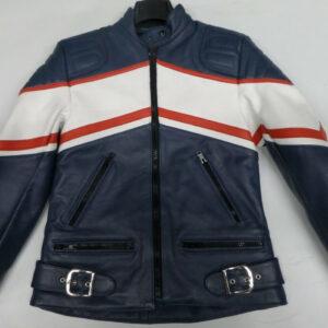 Yamaha Motorcycle Blue And White Racing Leather Jacket