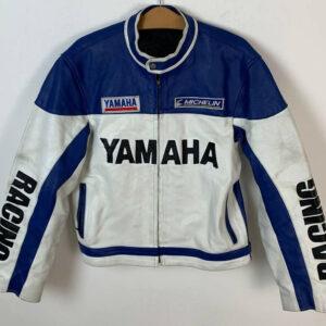 Yamaha Motorcycle White And Blue Racing Leather Jacket