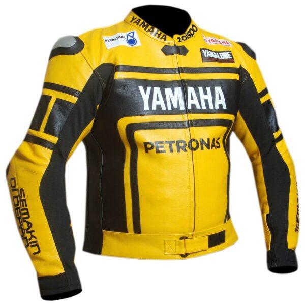 Yellow Black Yamaha Motorcycle Racing Leather Jacket