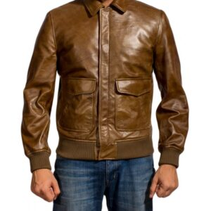 Distressed Brown Ansel Elgort Leather Jacket