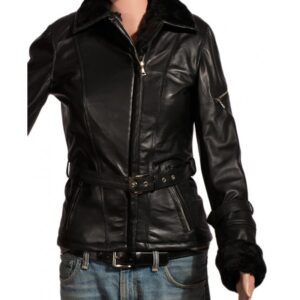 Emma Swan Once Upon A Time Black Fur Leather Jacket