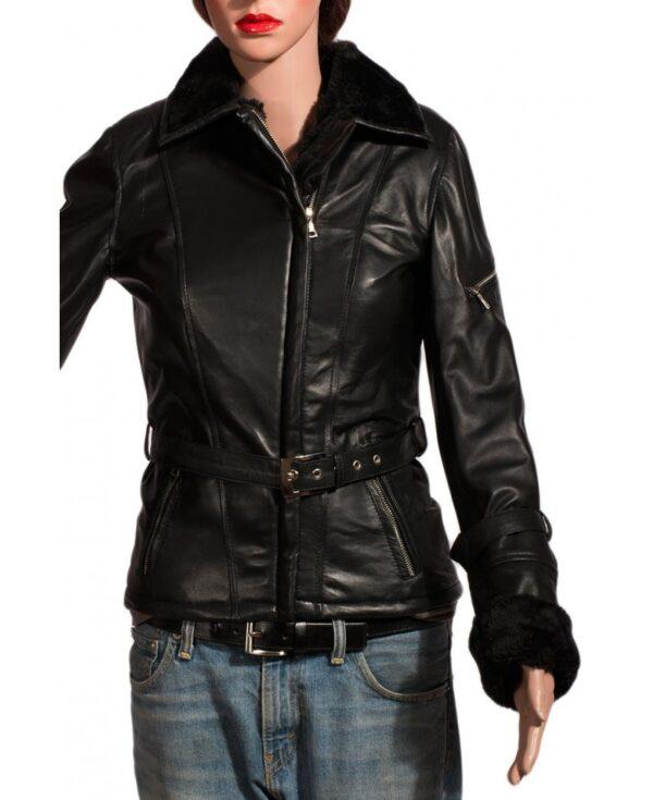 Emma Swan Once Upon A Time Black Fur Leather Jacket