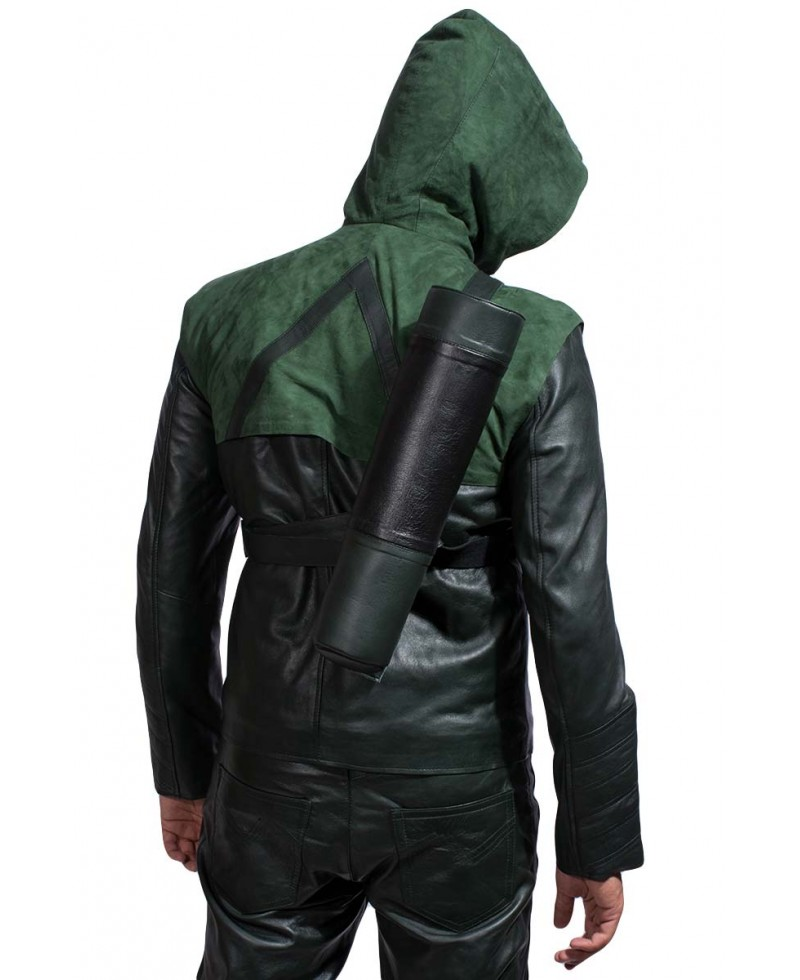 Green Hooded Leather Jacket – Jackets Maker
