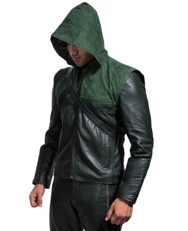 Leather jacket with sweatshirt hood