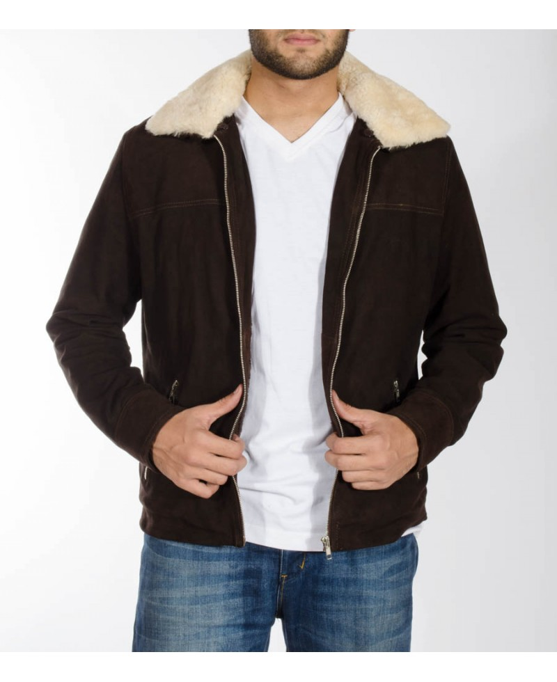 Brown Jacket With Shearling Collar & Fur Lining – Jackets Maker