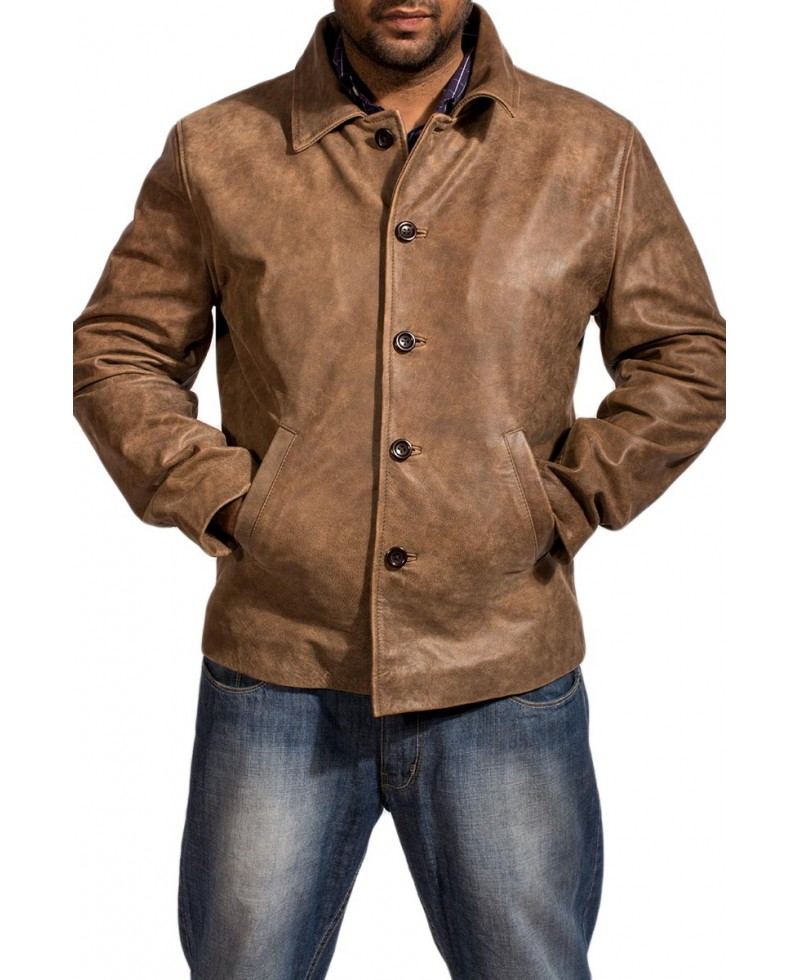 Waffle Brown Leather Jacket – Jackets Maker
