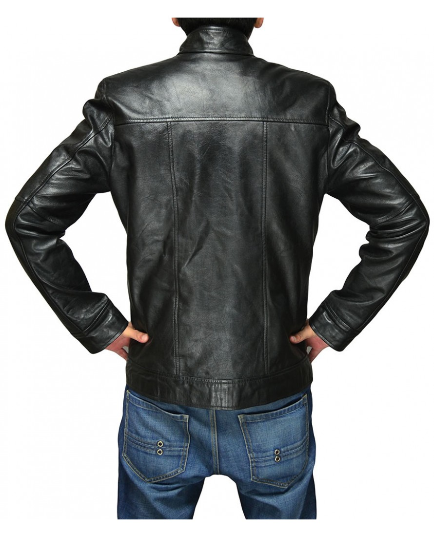 Men 39 S Black Fashion Jacket With Flap Chest Pockets