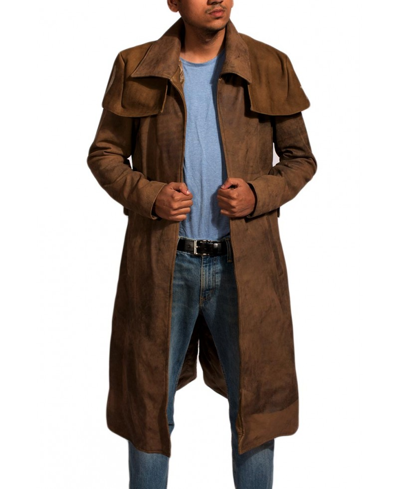 Army Brown Leather Duster – Jackets Maker