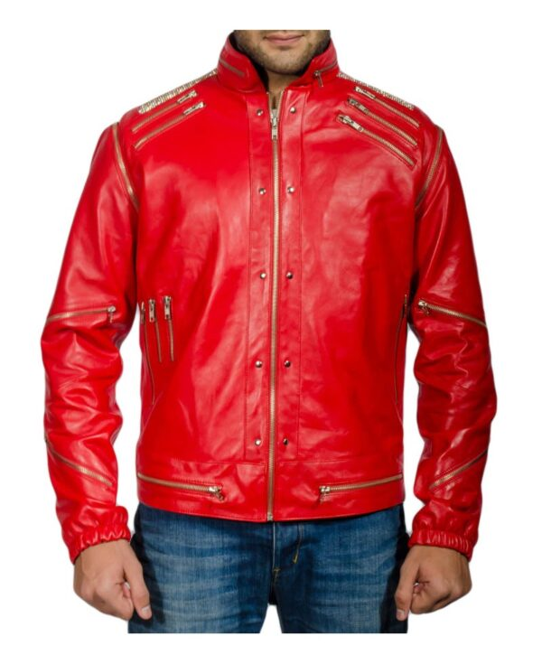 Candy Red Leather Jacket With Silver Zips