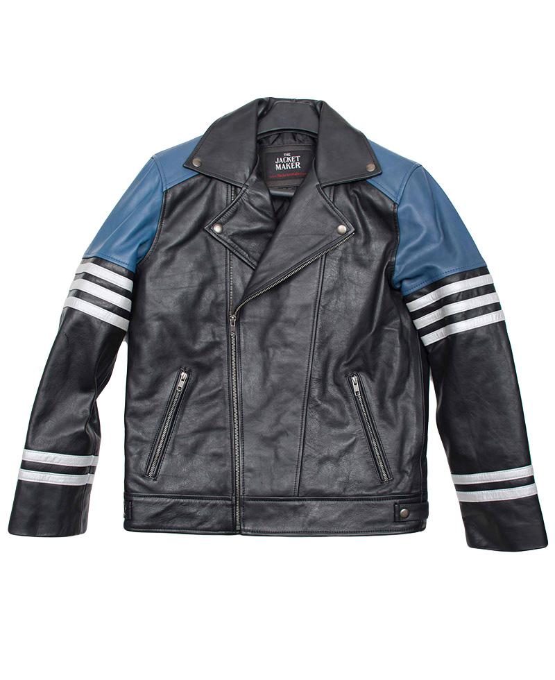 Classic-black-and-blue-biker-jacket-front-800x980 - Jackets Maker