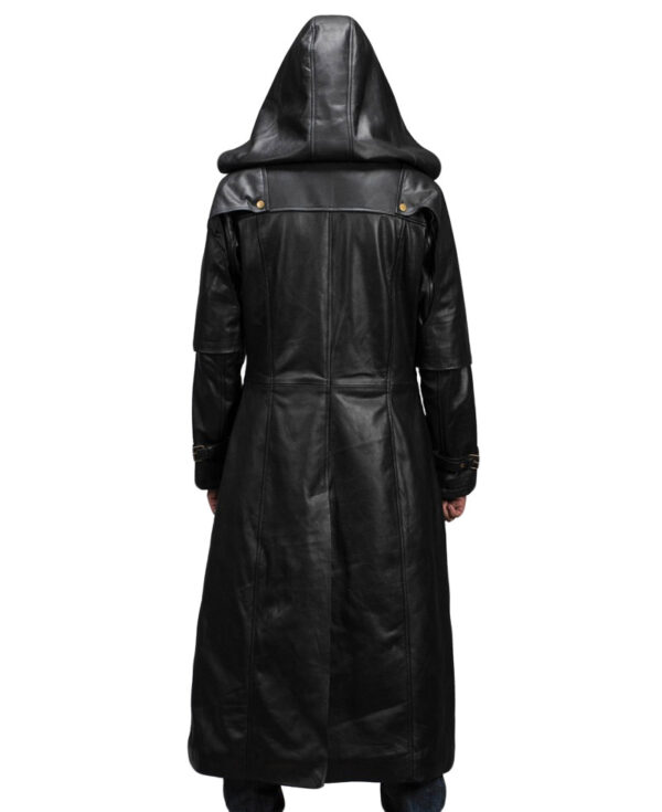 Huntsman Black Hooded Leather Trench Coat Back Look