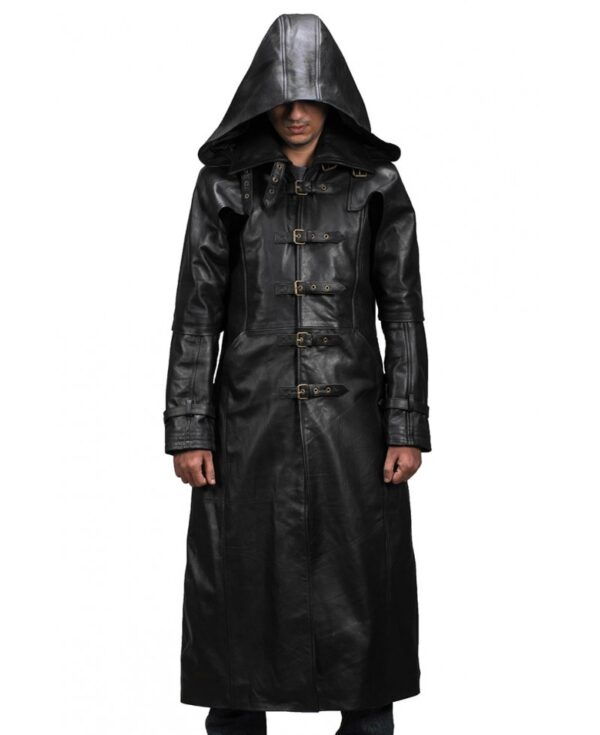 Huntsman Black Hooded Leather Trench Coat Front Look