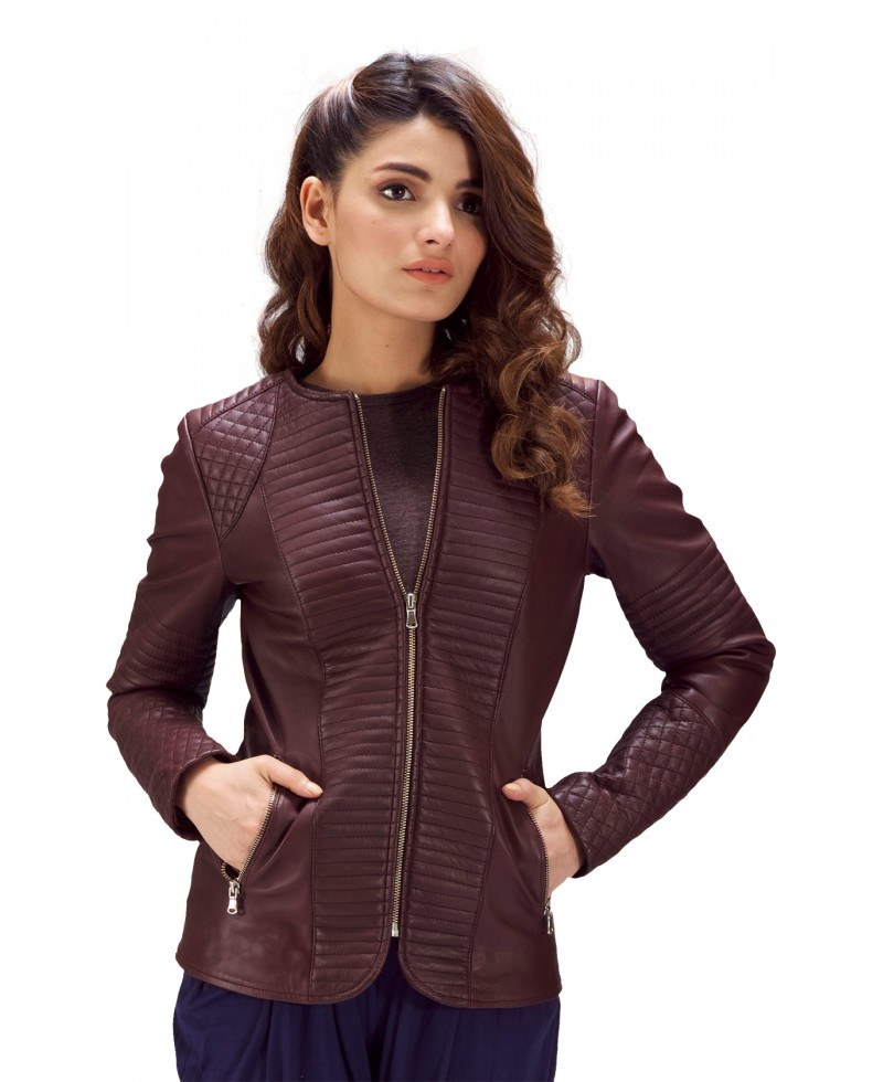 Maroon Quilted Leather Jacket Jackets Maker