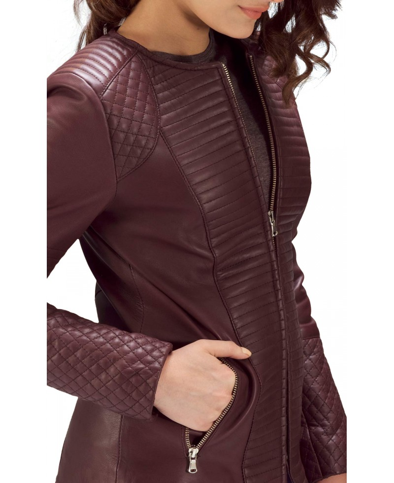 Maroon leather jacket