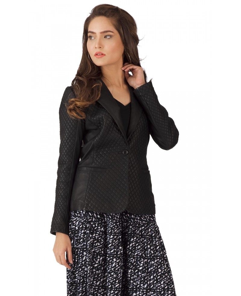 Quilted Blazers: Quilted Black Leather Blazer