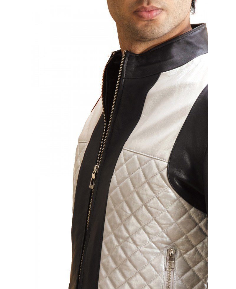 ce2ef22caee Silver Quilt Black Leather Bomber Jacket - Jackets Maker