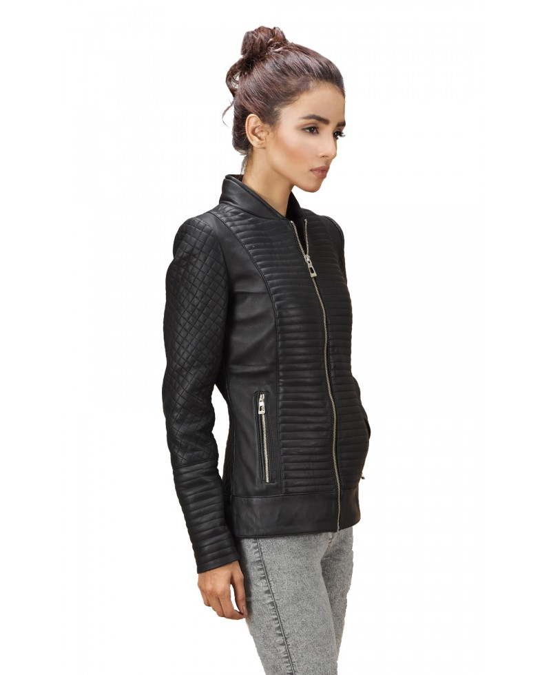 Black Quilted Leather Bomber Jacket - Jackets Maker