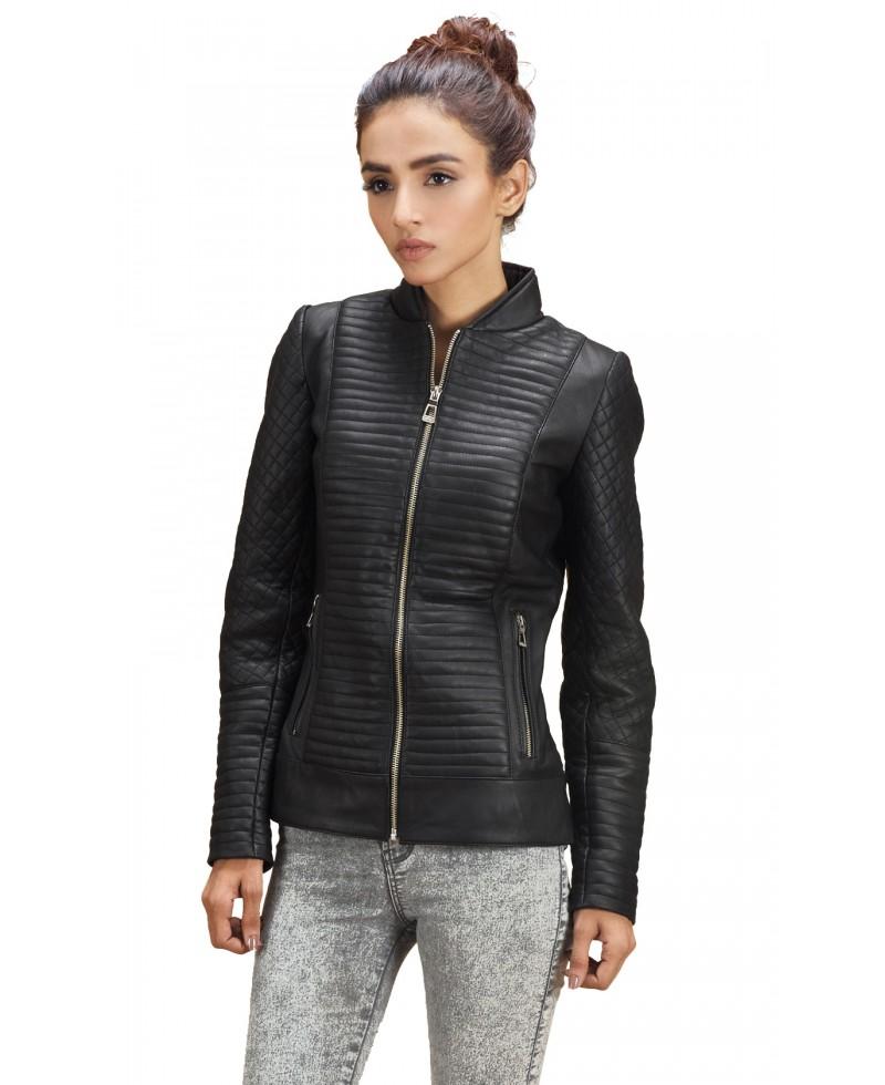 Women leather bomber jacket