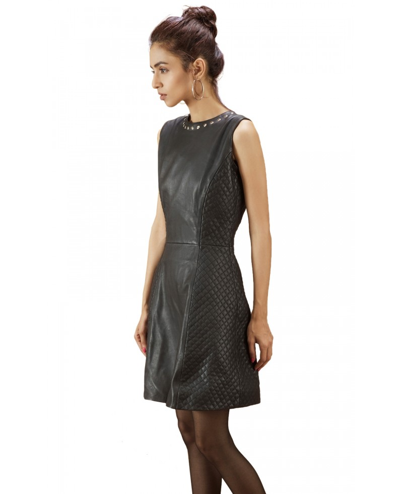Quilted Black Leather Dress