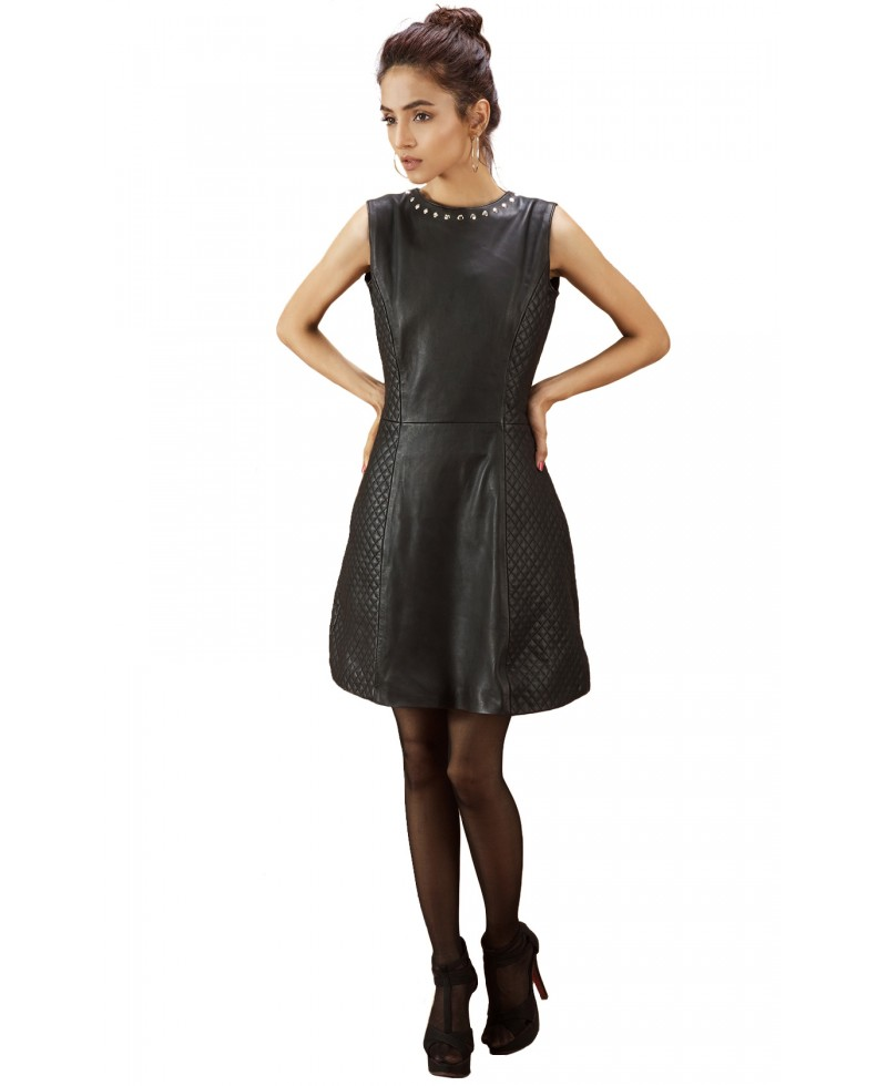 Quilted Black Leather Dress - Jackets Maker