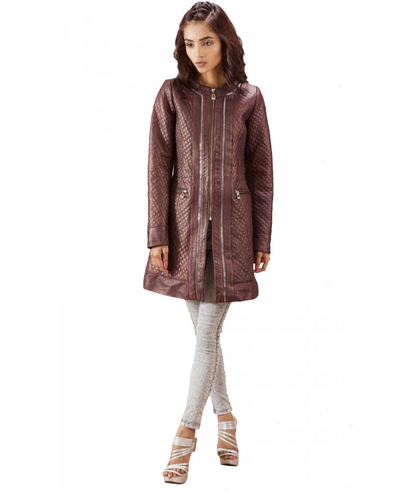Maroon Quilted Leather Coat Jackets Maker