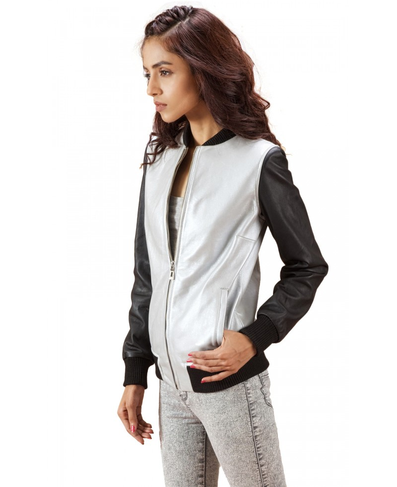 Silver And Black Leather Bomber Jacket - Jackets Maker