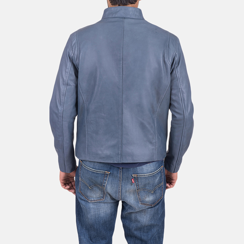 Ionic Blue Leather Jacket - Jackets Maker