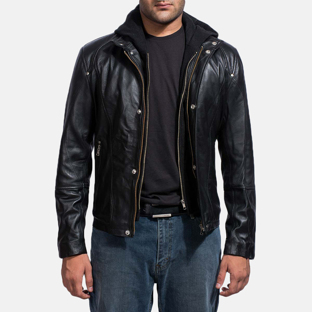 Highschool Black Leather Jacket - Jackets Maker