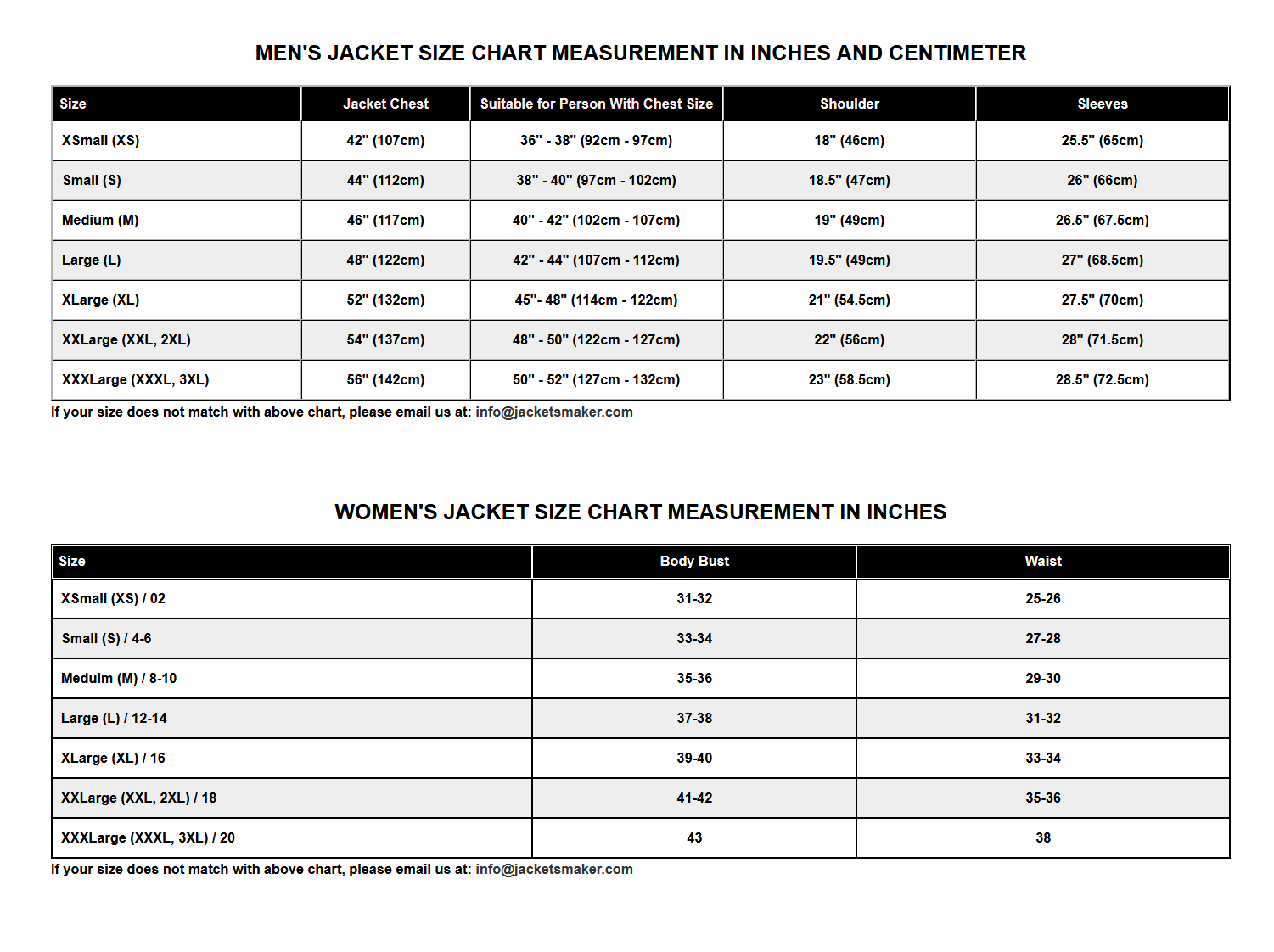 Men's jacket size chart measurement in inches and centimeter