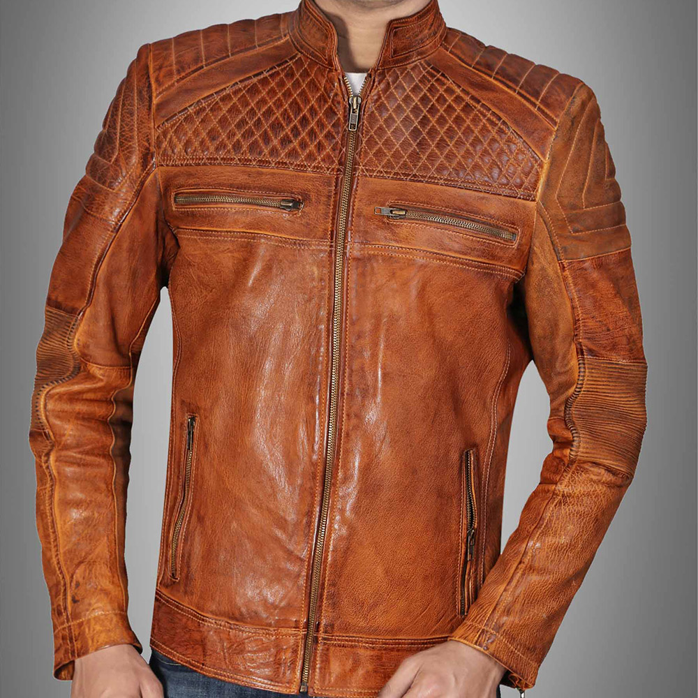 897897612 Cafe Racer Classic Cult Waxed Brown Leather Jacket