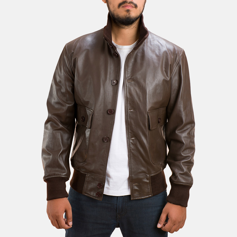Columbus Brown Leather Bomber Jacket - Jackets Maker