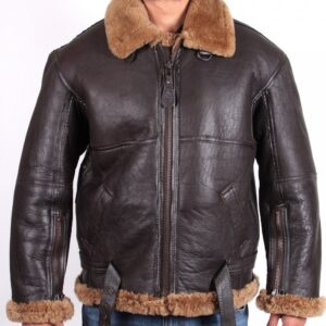 Brown Fur Bomber Flying Leather Jacket