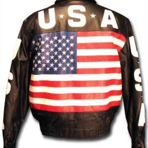 Black USA Flag Fashion Leather Jacket