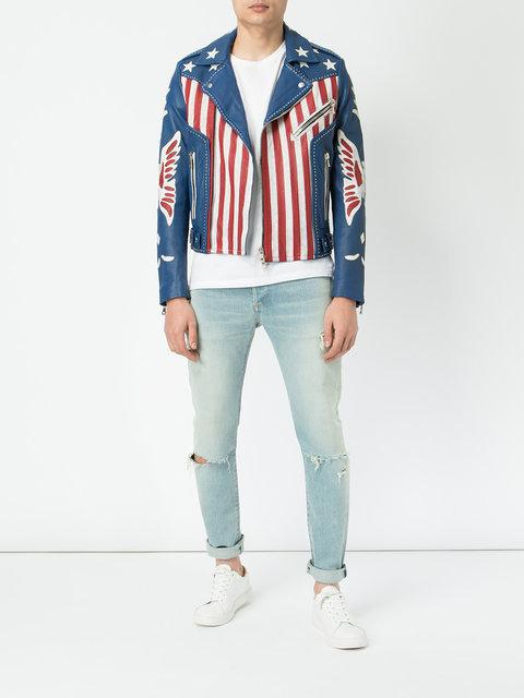 Balmain American Flag Print Leather JacketBalmain American Flag Print Leather Jacket