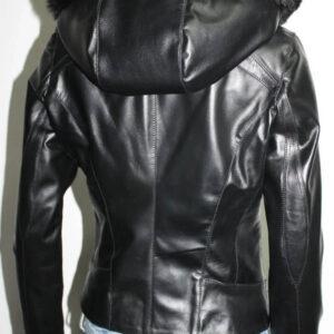 Black Fur Hooded Leather Jacket