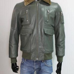 Men's Olive Green Sheepskin Fur Collar Leather Jacket