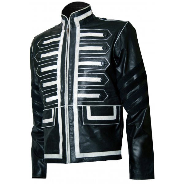 Military Look Men Black And White Leather Jacket Jackets Maker