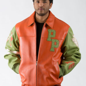 Orange Green Leather Jacket with Multiple Studs Pelle Pelle Renegades