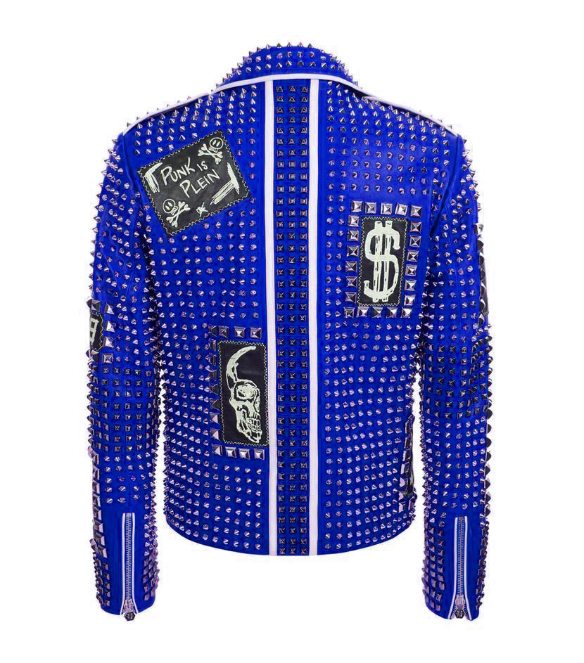 85f3725734 Philipp Plein Full Blue Studded & Patches Leather jacket - Jackets Maker