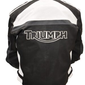 TRIUMPH Motorcycle Leather Jacket In Black & White Color (2)