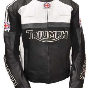 TRIUMPH Motorcycle Leather Jacket In Black & White Color
