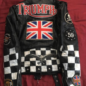 Triumph Jack Scull England Flag Leather Jacket