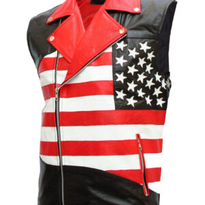 USA Flag Leather Motorcycle Vest for Men