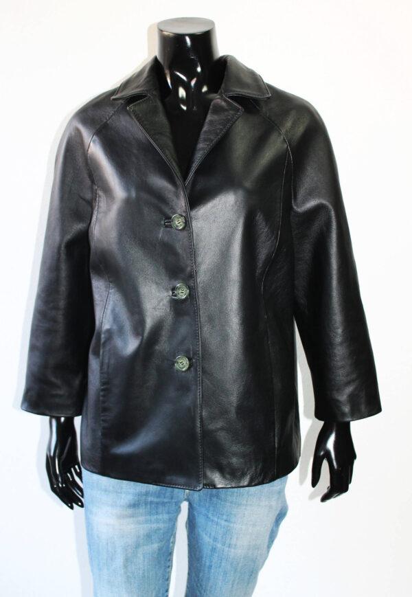 Women's Black Blazer Leather Jacket