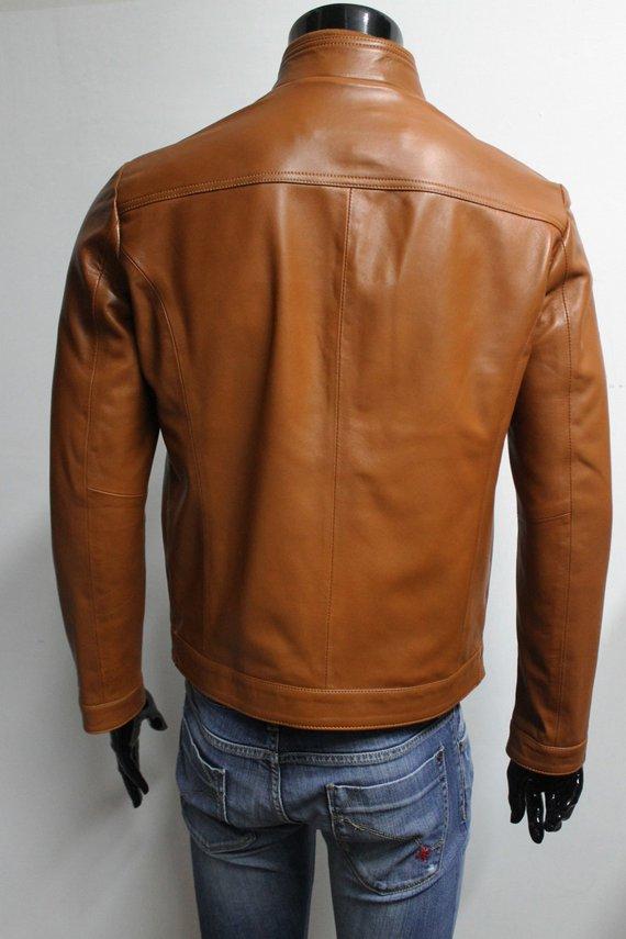 bf489cccf Men soft genuine lambskin leather jacket color tan - Jackets Maker